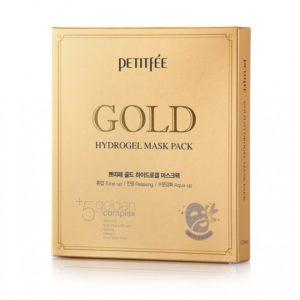 Гидрогелевая маска для лица с золотомым комплексом +5 PETITFEE Gold Hydrogel Mask Pack +5 golden complex