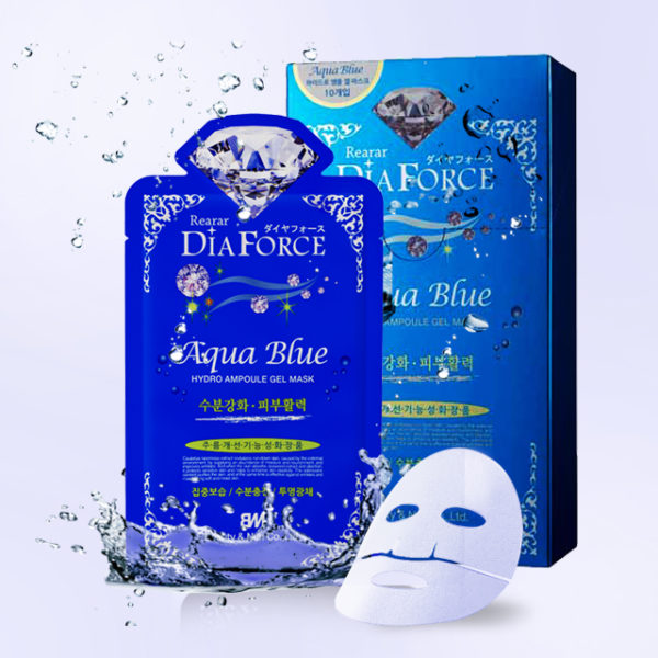 Гидрогелевая маска для лица на основе коллоидного золота с морским комплексом Rearar DiaForce Aqua Blue hydro Ampoule Gel Mask